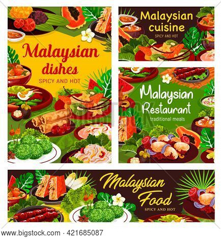 Malaysian Cuisine Posters, Vector Seafood, Vegetable And Meat Food Dishes With Rice Dessert. Shrimp