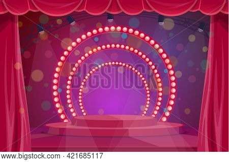 Theater, Circus Or Concert Hall Stage With Podium, Stagelights And Red Curtains. Cartoon Vector Awar