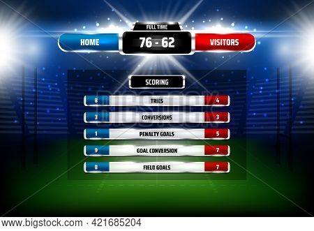 American Football Or Rugby Sport Game Scoreboard. Realistic Vector Stadium Field With Markings, Aren