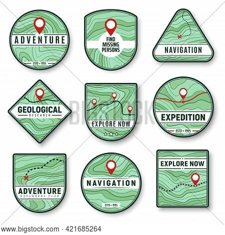 Topography And Navigation Isolated Vector Icons With Topographic Map, Navigation Pointers, Road, Hig