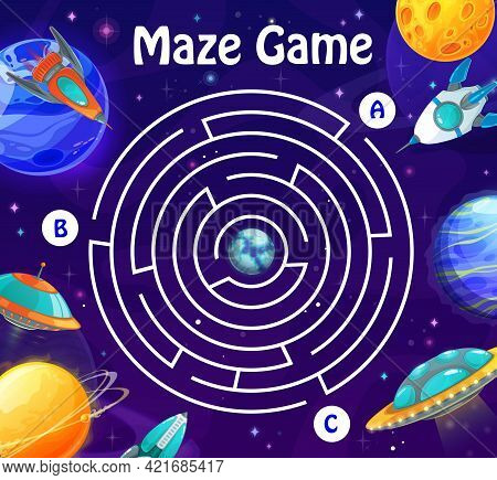 Space Labyrinth Maze In Galaxy. Kids Vector Boardgame With Spaceships And Planets. Board Game With R