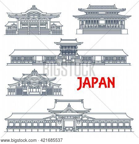 Japanese Landmarks, Architecture Temples And Buildings, Vector Line Icons. Japanese Famous Tokoji Te