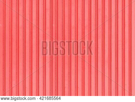 Red Corrugated Metal Background And Texture Surface Or Galvanize Steel