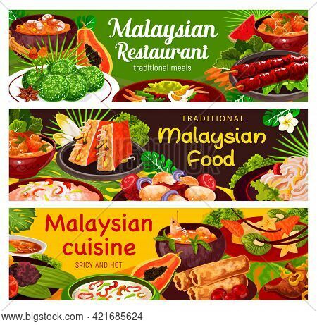 Malaysian Cuisine Food Vector Banners Of Vegetable, Seafood And Meat Meal Dishes. Shrimp Noodle Soup