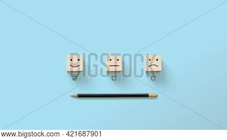 Wooden Block Cube Shape With Icon Face Happy And Unhappy And Pencil, The Best Excellent Business Ser