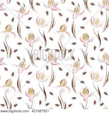 Floral Seamless Pattern Of Irises And Dandelion Seeds. Irises Painted Imitation Of Oil Paint. Creati