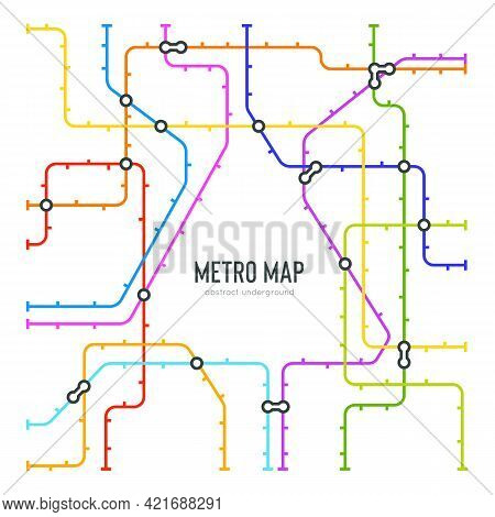 Abstract Metro Map In Shape Of Triangle. Vector Subway Underground Scheme. City Transportation Diagr