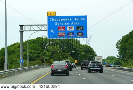 North East, Maryland, U.s.a - May 17, 2021 - The Traffic On The Highway By Interstate 95 South And N