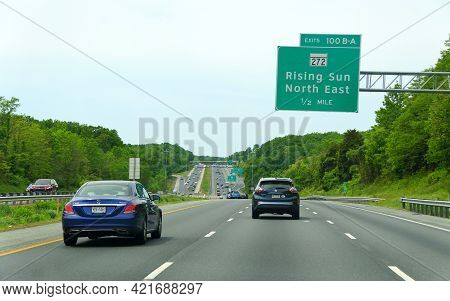 Perryville, Maryland, U.s.a - May 17, 2021 - The Traffic On The Highway By Interstate 95 And The Exi