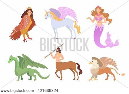 Different Mythical Creatures Flat Vector Illustrations Set. Fantasy Characters, Centaur, Harpy, Drag