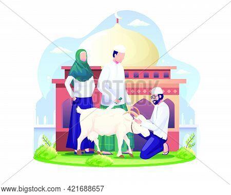 People Are Sacrificing Goats Or Qurban On Eid Al Adha. Happy Eid Al Adha Mubarak. Flat Vector Illust