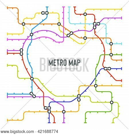 Abstract Metro Map In Shape Of Heart. Vector Subway Underground Scheme. City Transportation Diagram