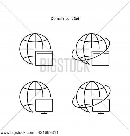 Web Domain Icons Set Isolated On White Background. Web Domain Icon Trendy And Modern Web Domain Symb