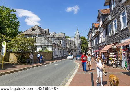 Goslar, Germany - July 08, 2018: People Walk Along One Of The Streets In The Center Of Goslar In Ger