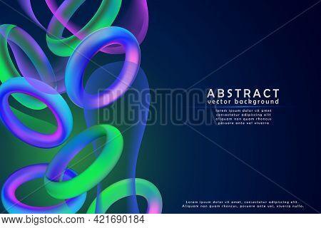 Fashion Art, Abstract Colorful Shape Of 3d Decorative Torus Ring. Design Bright Gradient Colors, Tre