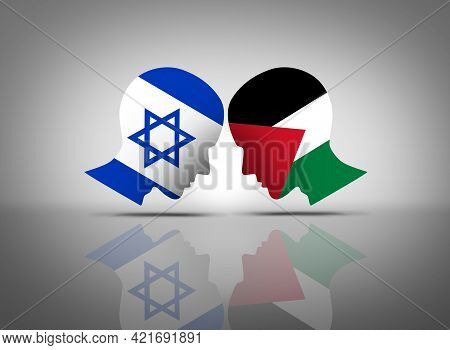 Israel And Palestine Conflict Or Israeli And Palestinian Middle East Crisis With Two Opposing People