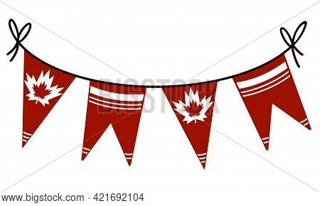 Canada Day Vector Illustration. Garland With The Sign Of Canada. Isolated Banner On A White Backgrou