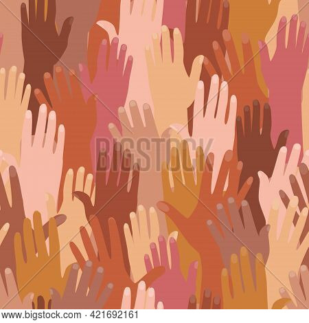 Vector Seamless Pattern With Female And Male Hands Of Different Nationalities. The Concept Of Friend