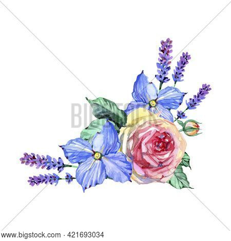 Floral Card With Flowers. Peony. Clematis. Lavender. Provense. Watercolor Illustration.