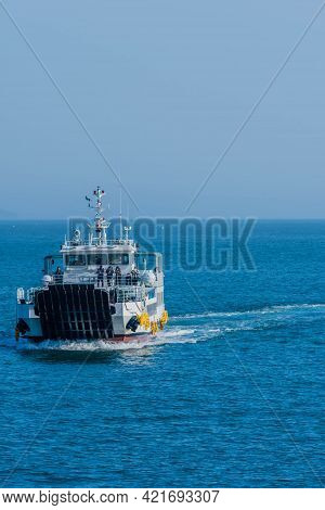 Sinjindo, South Korea; May 5, 2021: Fishing Charter With Unidentified Passengers On Deck On Blue Oce