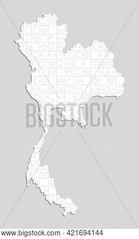 Thailand Country Map Made White Pieces Puzzle