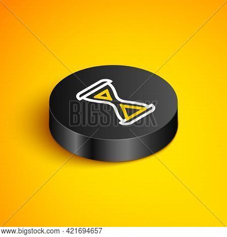 Isometric Line Sauna Hourglass Icon Isolated On Yellow Background. Sauna Timer. Black Circle Button.