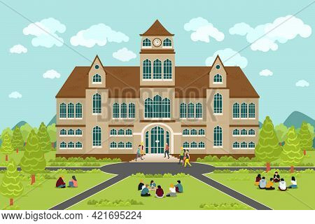University Or College Building. Education Student, Flat Campus Design, Graduation University, Vector