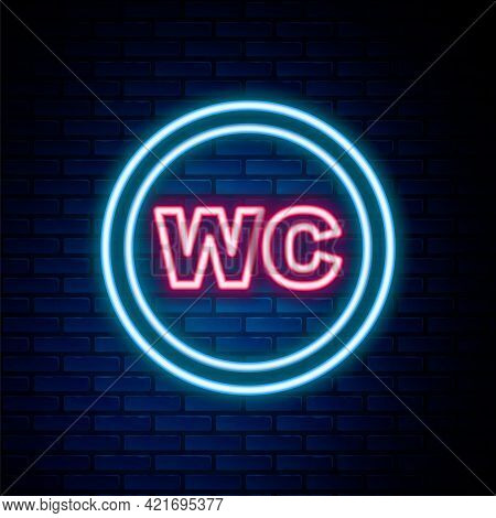 Glowing Neon Line Toilet Icon Isolated On Brick Wall Background. Wc Sign. Washroom. Colorful Outline