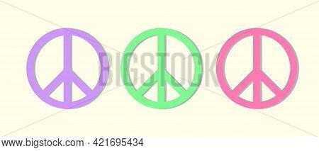 Peace Symbol Trio In Pastel Colors Illustration