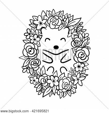 Cute Hedgehog With Flowers Lies On Back. Hedgehog With Leaves Instead Of Needles. Vector Illustratio
