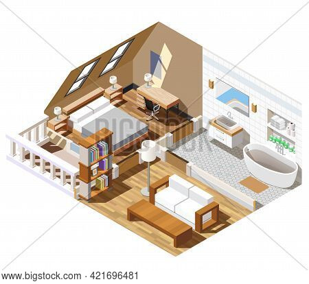 Apartment Interior Isometric Composition With Bathroom In White Color, Lounge, Bedroom With Windows