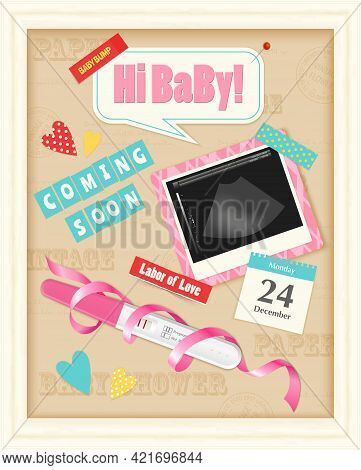 Coming Soon Baby Girl Realistic Scrap Album Page With Positive Pregnancy Test Ultrasound Image Pink