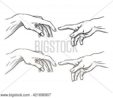 Adam Hand And Hand Of God Like Creation. Hope And Help, Assistance And Support Religion, Vector Illu