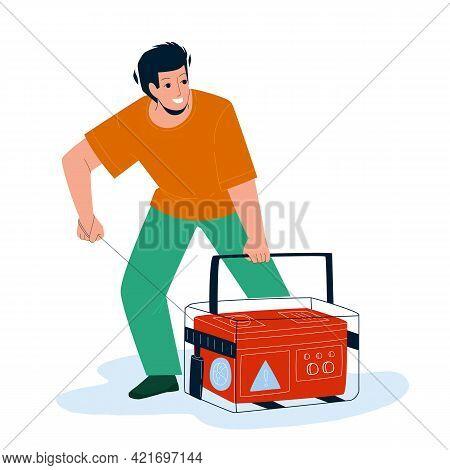Generator Equipment Starting Young Man Vector. Emergency Generator Machine Start Boy. Character Auto