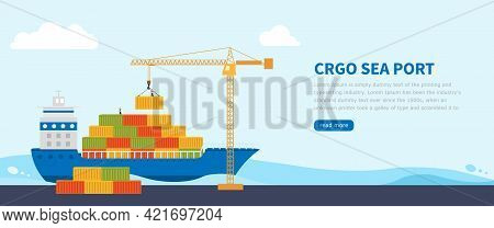 Crane Loads Cargo On To Cargo Barge. Banner Or Landing Page Worldwide Cargo