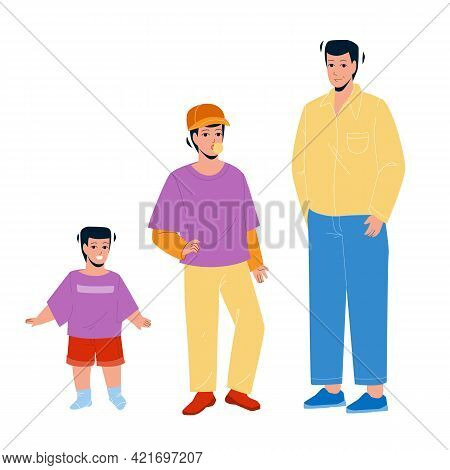 Growing Boy From Little Baby To Adult Man Vector. Growing Boy, Smiling Small Kid, Chewing Gum Teenag