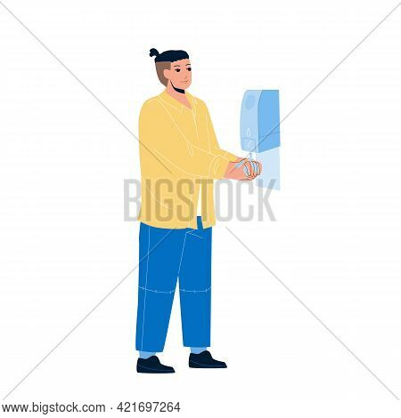 Hygiene Sanitizer Soap For Washing Hands Vector. Man Using Hygiene Antibacterial Alcohol Gel. Charac