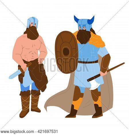 Viking Men Armoured With Axe And Shield Vector. Bearded Muscular Viking Strong People With Knife Wea