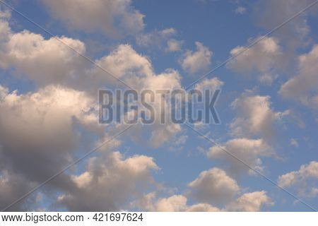 Blue Sky With Clouds. Sky With Clouds At Dawn