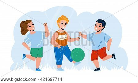 Children Playing With Ball Outside Together Vector. Kids Playing Football Outside, Team Game. Charac