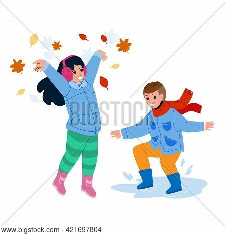 Kid Play Together Outdoor In Autumn Season Vector. Boy Jumping In Puddles And Preteen Girl Throwing
