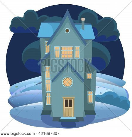 Cartoon House On The Hill. Night. A Beautiful, Cozy Country House In A Traditional European Style. N