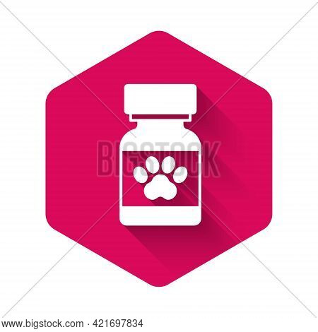 White Medicine Bottle And Pills Icon Isolated With Long Shadow Background. Container With Pills. Pre