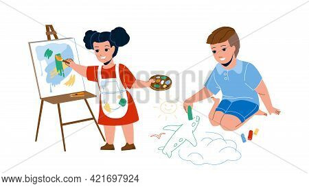 Kids Drawing Creative Picture Together Vector. Boy Draw Airplane With Chalk On Asphalt And Girl Draw