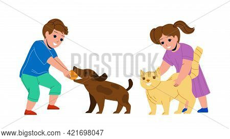 Kids Playing With Pets Together In Park Vector. Little Boy Play With Dog And Ball, Girl Stroking Cat
