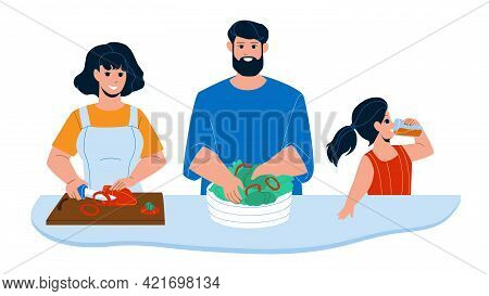 Kitchen Breakfast Preparing Family Together Vector. Mother Cutting Paprika Vegetable, Father Prepare