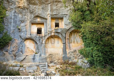 Sarcophagus Or Rock Tombs In Ruins Of The Ancient City Of Termessos Without Tourists Near Antalya, T