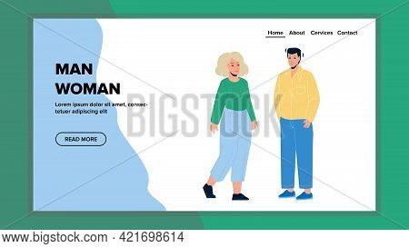 Man And Woman Friends Staying Together Vector. Young Man And Woman Couple Discussing On Dating. Chee