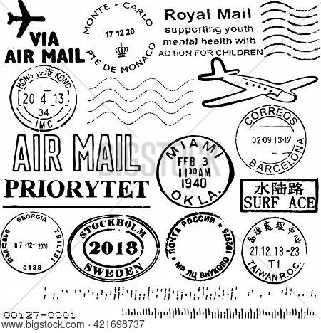 Vector Image Set Cancellation Postal Stamps From Different Countries, Isolated On White, Envelope An