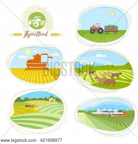 A Set Of Agricultural Illustrations. Tractor On The Background Of Fields, Combine Harvester In The F